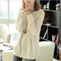 2014 new women's spring basic shirt batwing loose sweater shirt cutout sweater plus size clothing FF107