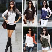 New Korea Japan Women's Ladies Long Sleeve Tops Round Neck T-Shirt Stripe Blouse