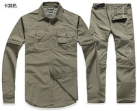 2013 Hot New Brand Power Dry Outdoor sports suit for Men/ Army Green/Gray/Khaki/ Detachable Quick-drying pants Jacket /CL180
