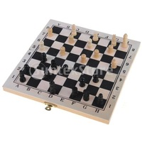 Free Shipping Wooden Folding Chessboard Travel Chess Set