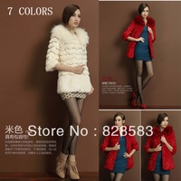 Real fur 2013 New Fashion Winter&Autumn whole leather rabbit fur jacket + Hezi fur collar Long Slim Long Coat Free Shipping