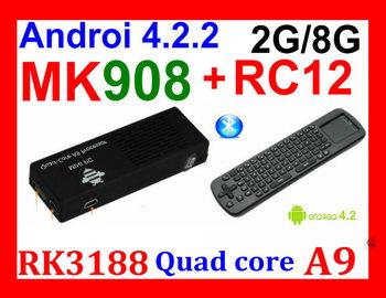 MK908 RK3188 Quad Core Google TV Stick Smart Android TV Box 2GB RAM Built-in Bluetooth IPTV Mini PC OS 4.2.2+ RC12 keyboard