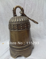 """17"""" China Bronze Classic Auspicious Buddhism Dragon Statue Protect Temple Bell z"""