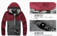 free shipping autumn fall winter style new men's hooded sweater coat thick cardigan zipper jacket tops men's Down boy Parkas