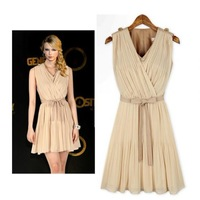 2013 New Fashion Lady's Eleganct Vest Chiffon Dress Round Collar Sleeveless Dress Free shipping