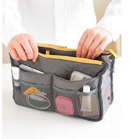 Dual Zipper Portable Multifunction Thicken Storage Bag Case Holder Grey
