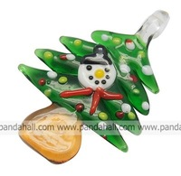 Handmade Lampwork Pendants,  Christmas Tree,  Tree,  Green,  about 39mm wide,  55mm long,  7mm thick,  hole: 6mm
