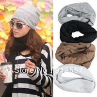1PCS New Cool Design Fashion Womens Winter Warm Knitted Wool Cap Hat Crochet Warm Scarf Dual Use Free shippping & wholesales
