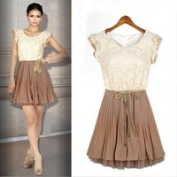 2013 New Fashion Court style Retro Lace Sleeveless vest dress Free shipping