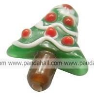 Handmade Lampwork Beads,  Christmas Tree,  Green,  about 19mm wide, 20mm long, 9mm thick,  hole: 2mm