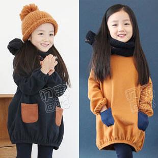 2015 autumn and winter color block pocket girls clothing child fleece sweatshirt dress one-piece dress A1102