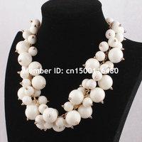 Fashion Women Gold Chain Exaggerating Bubble Bib Choker Pearl Statement Necklace