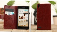 1Pcs/Lot Lastest The with Stent function Flip Cover leather Case For Huawei Ascend P6 Free Shipping,B0175