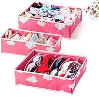3pcs/Set Free Shipping Bamboo Charcoal Fibre Foldable Closet Organizers Storage Boxes Bins For Bra  Necktie 3 Colors