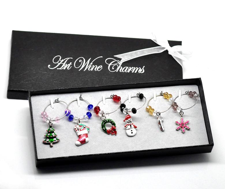 1 Box Mixed Christmas Wine Glass Charms Table Decorations W/ Box 50x25mm-57x25mm(China (Mainland))