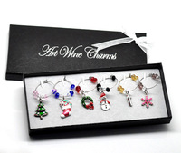 1 Box Mixed Christmas Wine Glass Charms Table Decorations W/ Box 50x25mm-57x25mm