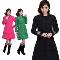 2014 New Arrival Winter clothes  Long Sleeve Women down jackett,Tops,Slim long down coat, Ethnic Embroidery   Warm Outwear