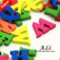 Button buttons diy wood button candy color letter button child buckle 4 15mm