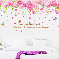 Tv sofa background wall large wall stickers romantic h2d95 floweryness