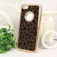 Fashion Lovely Gift Brown Luxury Bling Crystals Rhinestones Leopard Case Cover For Apple iPhone 5 5G Freeshipping&Wholesale