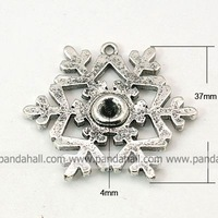 Tibetan Style Pendant Cabochon Settings,  Lead Free,  Christmas,  Snowflake,  Antique Silver,  37x5mm,  Hole: 2mm