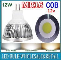 5X LED Spot light 12W MR16 COB led lamp Warm White /Pure White bulb Lamp Spotlight Free Shipping