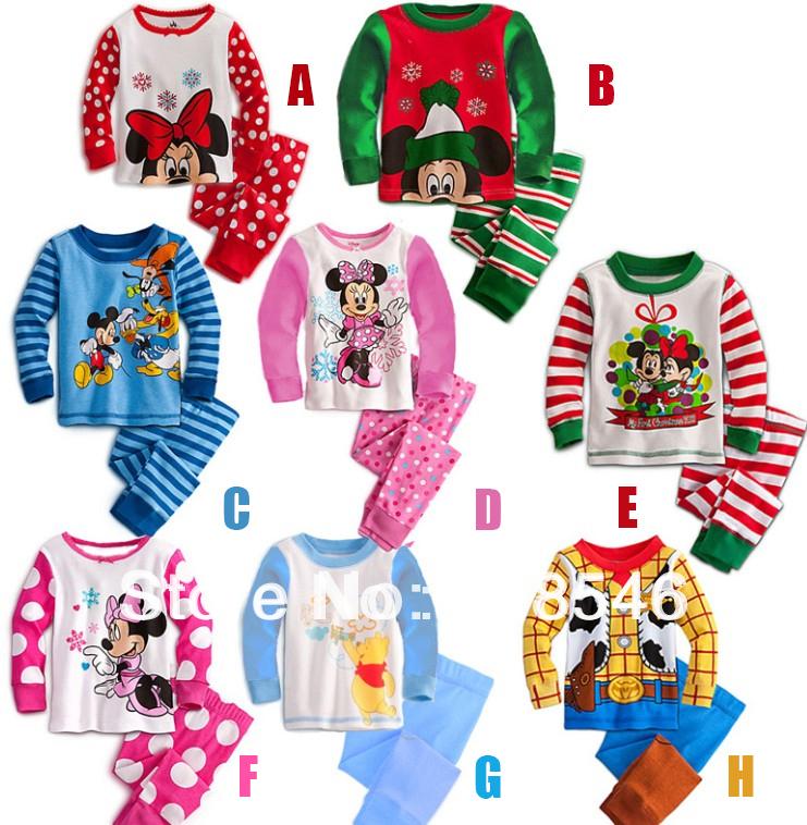 2014 FREE SHIPPING 5sets/lot children clothing set kids wear baby clothing children pajamas set Minnie mickey mouse clothing set(China (Mainland))