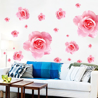 Tv background wall flower sticker romantic decoration wall stickers pink rose