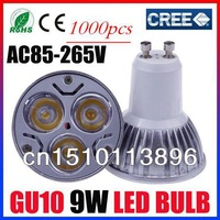 1000PCS Free Shipping  Cree GU10  9W LED Spotlight   Home Decor Lighting  AC85-265V CE/RoHS Warm/Cool White Ultra Bright bag