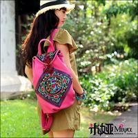 Travel  Embroidery Handbag Fashion Pink PU bag Summer Holiday Bag Boho New2014
