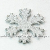 Christos Spray Painted Acrylic Beads,  Matte Style,  Christmas Snowflake,  LightGrey,  45x44x4.5mm,  Hole: 2.5mm