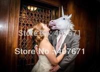 Free shipping Creepy  Unicorn Horse Mask Head Halloween Costume Theater Prop Novelty Latex Rubber