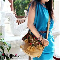 New Arrival Embroidery Paillette Messenger Bag Faux leather PU national trend Bag Ladies Handag Beige