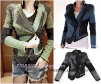 kim kardashian Celebrity   Punk Rock Strong power Shoulder Tassels Beaded Cropped denim jacket  3d spike leather coat