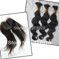 "MIX Lenght 4pcs 10-24""inch Brazilian Virgin Hair 1pcs Lace Top Closure 4x3.5""+3pcs Bulk human hair extensions can be dyed"