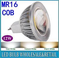 10X LED Spot light 12W MR16 COB led lamp Warm White /Pure White bulb Lamp Spotlight Free Shipping