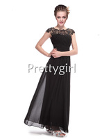 PY09993 black lace chiffon party dresses formal evening gown maxi plus size 2013 new arrival elegant