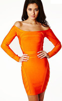 Vintage Orange Sexy Slash Neck Women Long Sleeve Dresses Bandage Evening Party Formal Office Ladies Buisness Wear HL320
