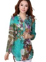Free Shipping!Plus Size Clothing Autumn Medium-long loose Chiffon Shirt,Printing long-sleeve Shirt