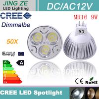 50X High Power GU5.3 ( MR16) 9W MR16 Lighting ( MR16) LED Light Bulbs  jewelry showcase led lights DC/AC 12V (220v)