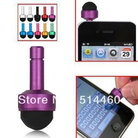 Freeshipping 10PCS/Pack Smallest 3.5mm Plug Soft Touch Stylus Pen for Capacitive Touchscreen