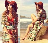 Casual Women Multi-Color Dip Dye Floral Shirred Waist Chiffon Long Cardigan Shirt Blouse Dress S,M,L