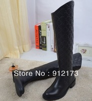 2013 Winter famous designer brand new fashion boots for women, black genuine leather embossing knee-high boots