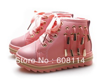 Free Shipping Retail Girls Fashion Warm Winter Shoes Kids Warm Sneakers Short Boots