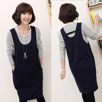 Twinset 2013 maternity fashion stripe basic shirt Dark Blue 0816 tank dress