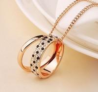 2013 Women Fashion  Accessories Elegant Black And White Leopard Print Double-circle Necklace
