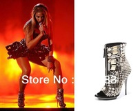 New Arrival Punk Open Toe Ankle Boots Open Toe Crystal Short Boots Zipper
