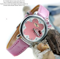 Children's pink cat brand wrist skin with fashionable watch the clock - 64563