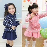 Children clothing retail 2014 new autumn girls fashion gentlewomen dot long-sleeve + princess skirt 2 pcs set Free shipping