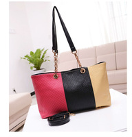 FREE SHIPPING 1PCS Fashion RoseRed/black/Khaki Knitted PU Leather Shoulder Bag Handbag #23426